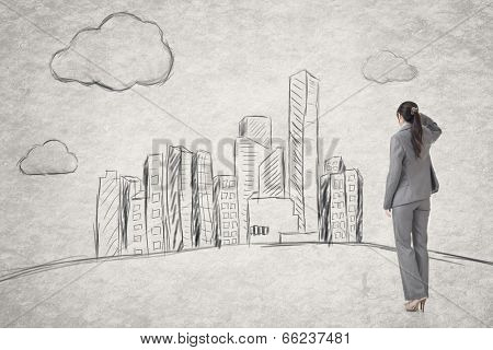 Asian business woman find a new city, photo compilation with hand drawing background.