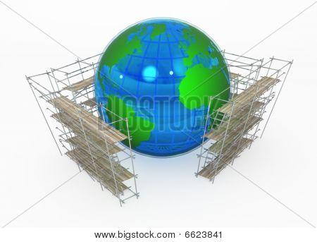 Earth Globe, Scaffolding