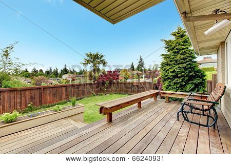 Walkout Deck Overlooking Backyard