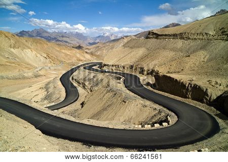 The New Road In The Himalayas Mountains