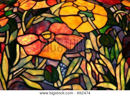 Stained Glass  Golden Poppies