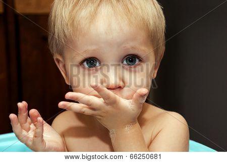 Little Funny Boy Washes In Bath.