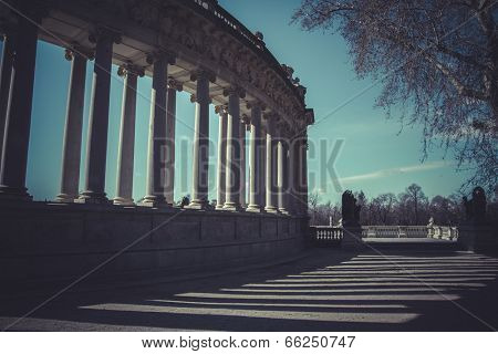 Madrid famous Retiro Park in the early morning.Monument to Alonso XII, parque del retiro, Madrid, Spain
