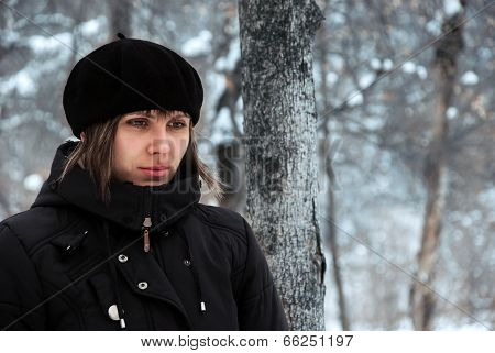 Lonely Girl Outdoors In Cold Winter Weather