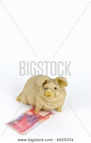 piggy bank and 100 chinese yuan
