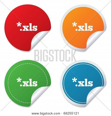 Excel file document icon. Download xls button.