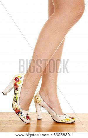 Woman Legs Stand Heels Fun Side