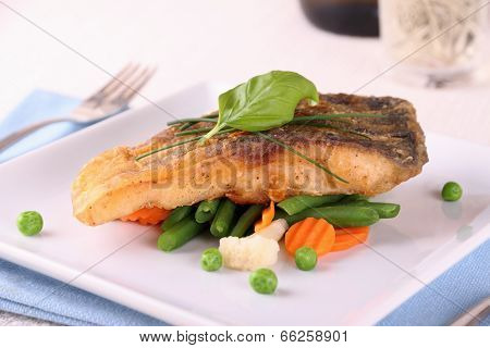 Fried Carp Fish Fillet With Vegetables