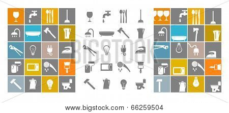 Icons tools, household goods