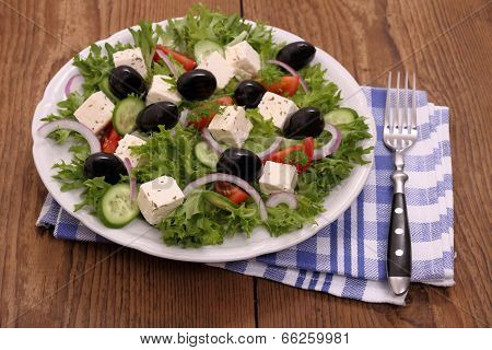 Greek Farmers Salad With Gigantic Black Olives, Sheeps Cheese