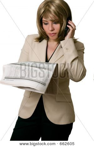 Businesswoman Reading Financial News