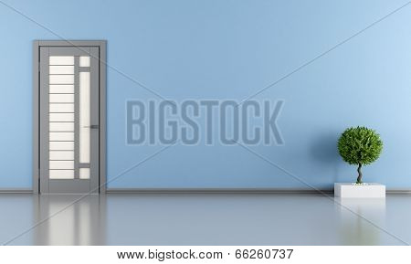 Blue Room With Gray Door