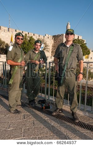 Israeli Soldiers In Front Of King David's Citadel, Israel
