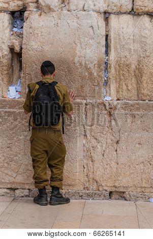 Soldier Praying At Western Wall, Jerusalem, Israel