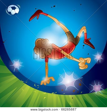 A soccer player performing bicycle kick, night scene.