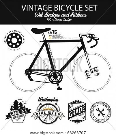 illustration bicycle with vintage bike badge