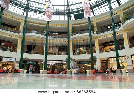 LISBON, PORTUGAL - MAY 29, 2014: Inside the Colombo Shopping Center in Lisbon. The Colombo opened in 1997 and has 404 retail stores, making it the largest shopping center on the Iberian Peninsula.