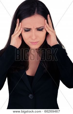 Stressed Young Business Woman in Black Suit