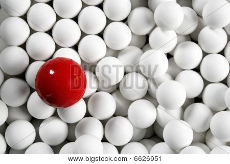 Alone One Billiard Red Ball Little White Balls