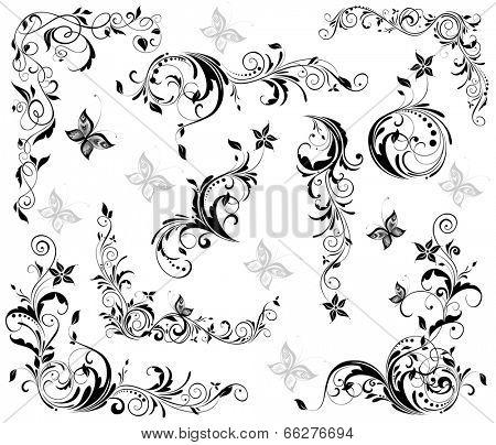 Vintage floral decorative elements (black and white