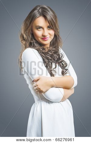 Caucasian Brunette Woman With Folded Hands