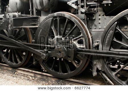Wheels Of Vintage Steam Engine On Railway