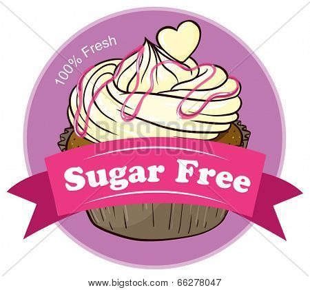 Illustration of a sugar free label with a delicious cupcake on a white background