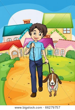 Illustration of a happy young boy walking with his pet