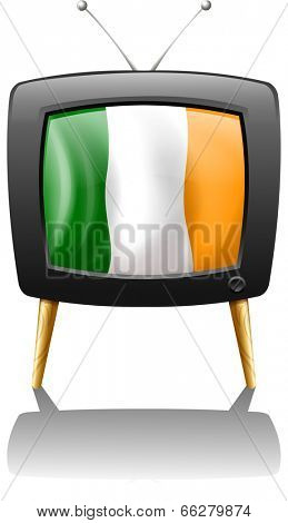 Illustration of a television showing the flag of Ireland on a white background