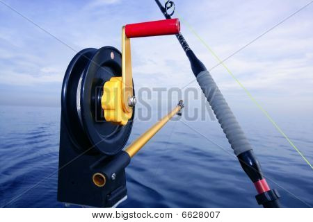 Downrigger Angler Fishing Tackle In Blue Sea