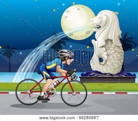 Illustration of a biker passing the street with the statue of Merlion