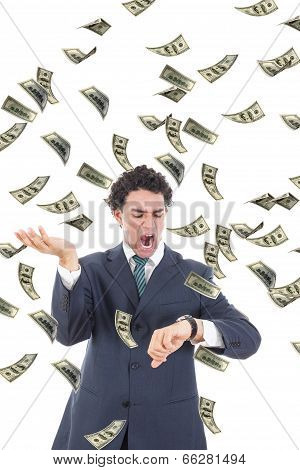 Businessman With Money Realising He Is Running Out Of Time