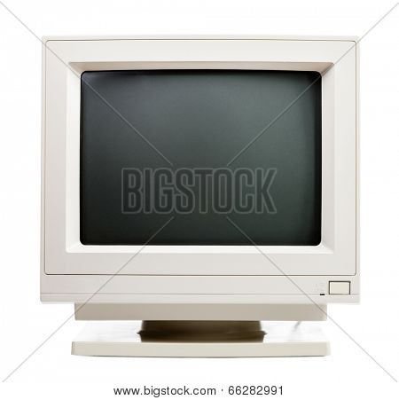 Vintage CRT computer monitor on white background