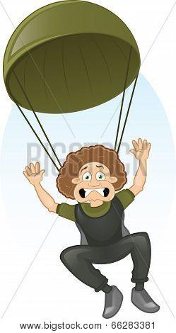 Vector cartoon frightened paratrooper
