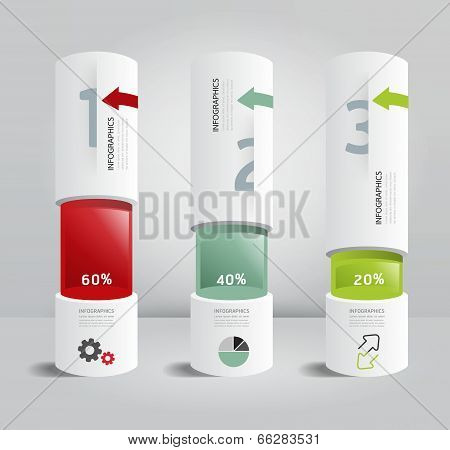 Infographic Template Modern Box Cylinder Design Minimal Style / Can Be Used For Infographics / Numbe