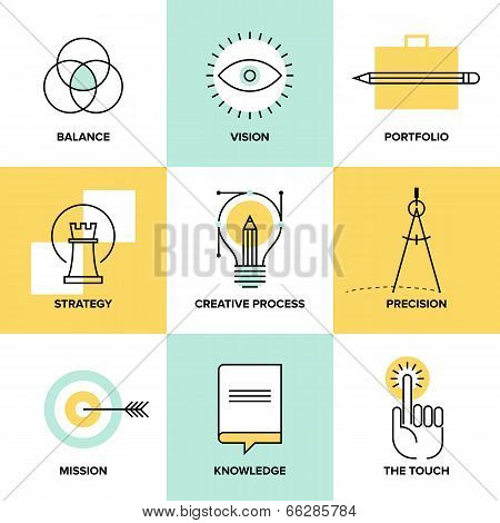 Creative Process Design Flat Line Icons