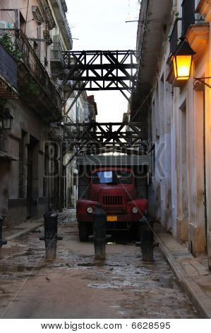 Messy Havana Street With Old Truck