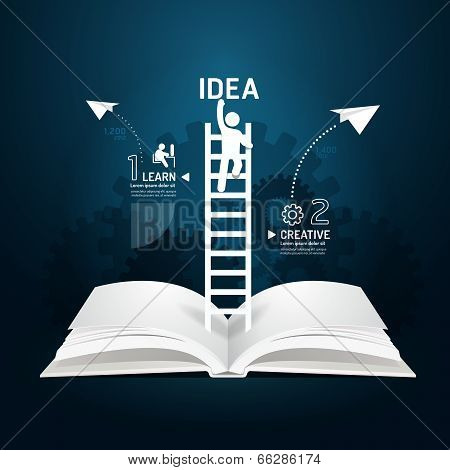 Infographic Climbing Ladder Book Diagram Creative Paper Cut Style  Template Concept.vector Illustrat
