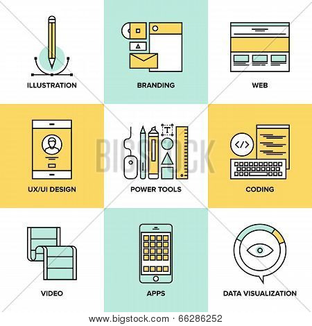 Web Design And Development Flat Line Icons poster