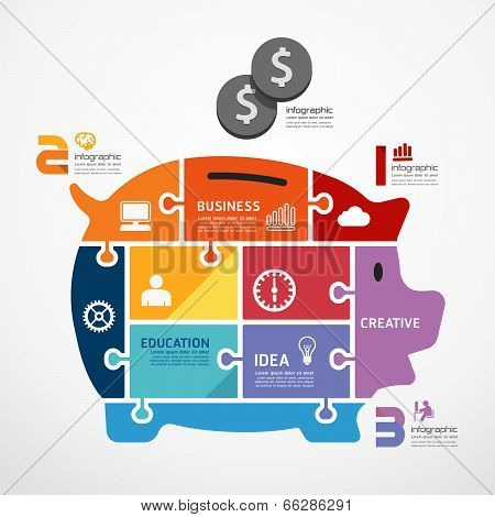 Infographic Template With Piggy Bank Jigsaw Banner . Concept Vector Illustration