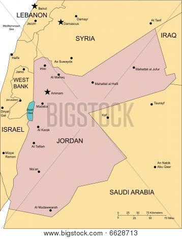 map of jordan and surrounding countries