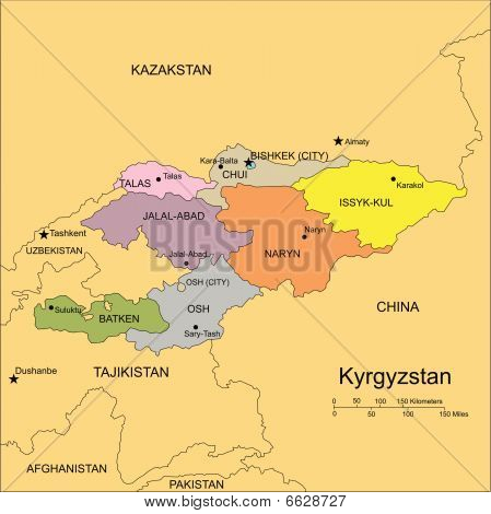 Kyrgystan, Administrative Districts, Capitals and Surrounding Countries