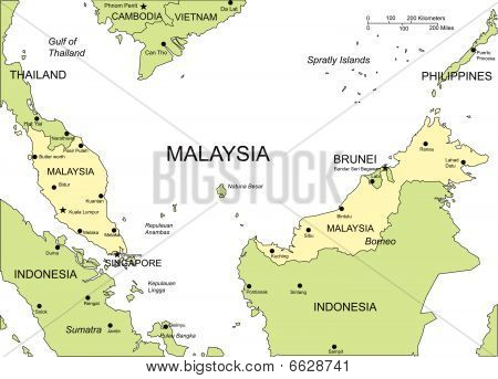 Malaysia, Major Cities and Capital and Surrounding Countries