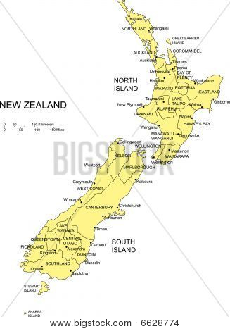 New Zealand with Administrative Districts