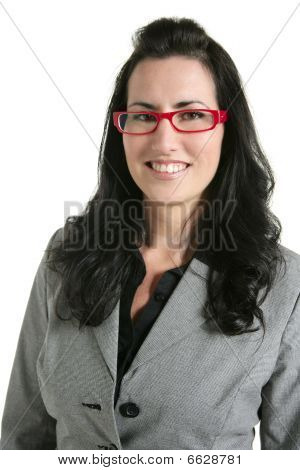 Businesswoman Red Glasses Portrait Gray Suit
