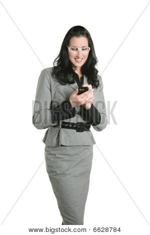 Brunette Businesswoman Sms Message Cell Phone