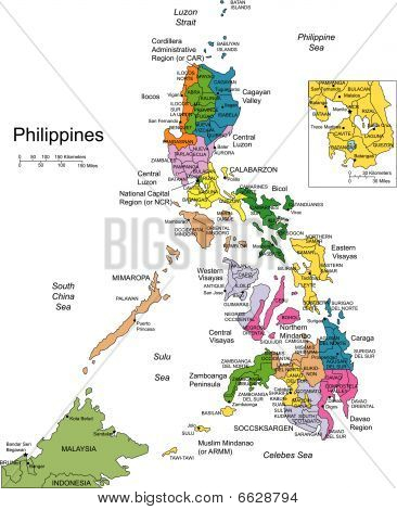 Philippines with Administrative Districts and Surrounding Countries