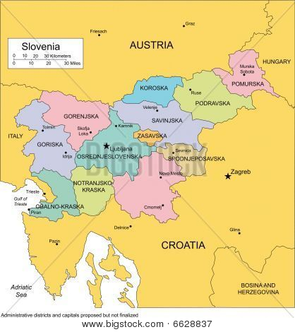 Slovenia with Administrative Districts and Surrounding Countries