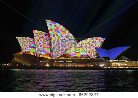 Sydney Opera House in geometric colour