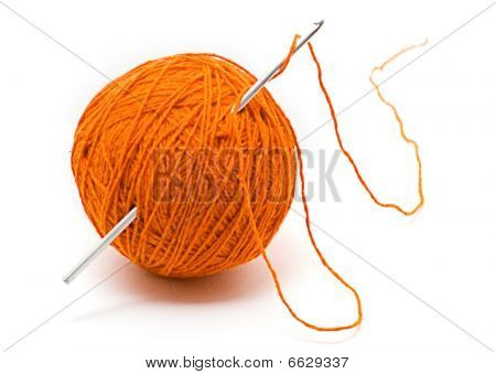 Skein Of Wool Yarn And Crochet Hook